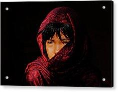 Blue Eyes - Bw Acrylic Print by Okan YILMAZ