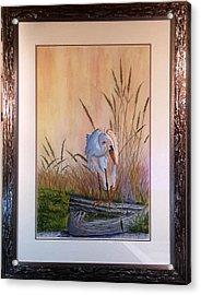 Blue Heron On A Log  Acrylic Print by Richard Benson