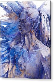 Blue Lady Acrylic Print by Joan  Jones