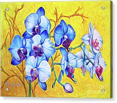 Acrylic Print featuring the painting Blue Orchids #2 by Nancy Cupp