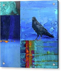 Acrylic Print featuring the digital art Blue Raven by Nancy Merkle