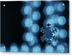 Blue Snowflake Acrylic Print by Jouko Mikkola