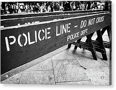 blue wooden police line do not cross nypd crowd traffic barrier New York City USA Acrylic Print