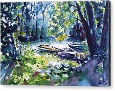 Acrylic Print featuring the painting Boat by Kovacs Anna Brigitta