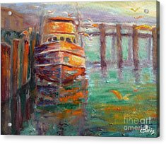 Boat With Seagulls Acrylic Print