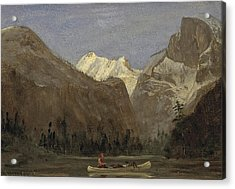 Boating Through Yosemite Valley With Half Dome In The Distance Acrylic Print by Celestial Images