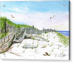 Boats In The Sand Acrylic Print by Pauline Ross
