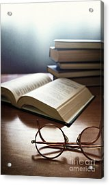 Books And Glasses Acrylic Print