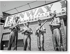 Boston Fenway Park Sign And Four Bronze Statues Acrylic Print