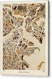 Boston Massachusetts Street Map Acrylic Print by Michael Tompsett