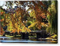 Acrylic Print featuring the photograph Boston Public Garden - Lagoon Bridge by Joann Vitali