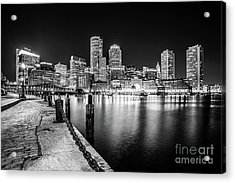 Boston Skyline At Night Black And White Photo Acrylic Print