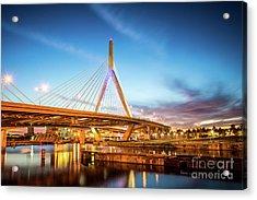 Boston Zakim Bridge At Night Photo Acrylic Print by Paul Velgos
