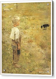 Boy With A Crow Acrylic Print by Akseli Gallen-Kallela