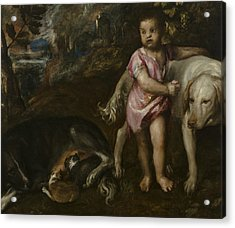 Boy With Dogs In A Landscape Acrylic Print