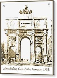 Brandenburg Gate, Berlin Germany, 1903, Vintage Image Acrylic Print