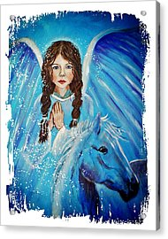 Brianna Little Angel Of Strength And Courage Acrylic Print by The Art With A Heart By Charlotte Phillips