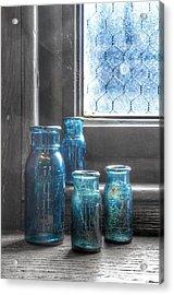 Bromo Seltzer Vintage Glass Bottles  Acrylic Print by Marianna Mills