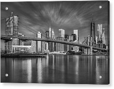 Brooklyn Bridge From Dumbo Acrylic Print by Susan Candelario