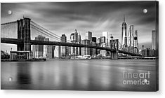 Brooklyn Bridge Panorama Acrylic Print by John Farnan