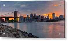 Brooklyn Sunset Acrylic Print by David Hahn