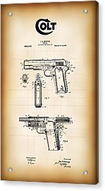 Browning Colt 45 Model 1911 Patent Acrylic Print by Daniel Hagerman