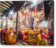 Buddhist Monks Praying In Thiksay Monastery Acrylic Print