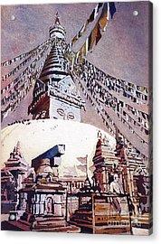 Acrylic Print featuring the painting Buddhist Stupa- Nepal by Ryan Fox