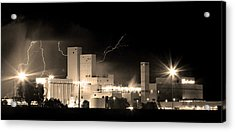 Budwesier Brewery Lightning Thunderstorm Image 3918  Bw Sepia Im Acrylic Print by James BO  Insogna