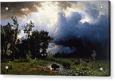 Buffalo Trail  The Impending Storm Acrylic Print by Albert Bierstadt