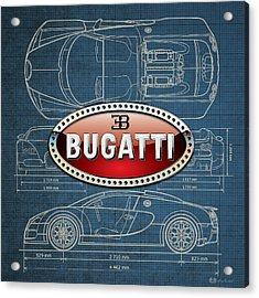 Bugatti 3 D Badge Over Bugatti Veyron Grand Sport Blueprint  Acrylic Print by Serge Averbukh
