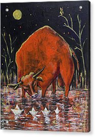 Bull And Paper Boats Acrylic Print