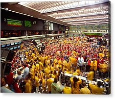 Business Executives On Trading Floor Acrylic Print by Panoramic Images