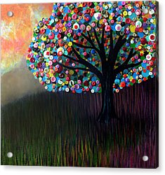 Button Tree 0004 Acrylic Print by Monica Furlow