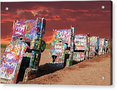 Acrylic Print featuring the photograph Cadillac Ranch by Carolyn Dalessandro
