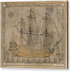 Calligraphic Galleon Acrylic Print by Celestial Images