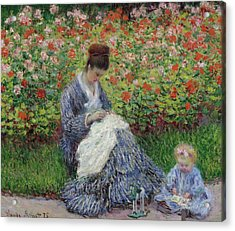 Camille Monet And A Child In The Garden At Argenteuil Acrylic Print by Claude Monet