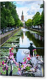 Acrylic Print featuring the digital art Canal And Decorated Bike In The Hague by RicardMN Photography