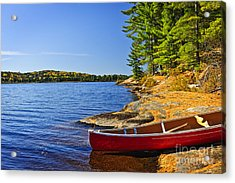 Canoe On Shore Acrylic Print by Elena Elisseeva