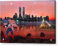 Captain America Acrylic Print by Michael Rucker