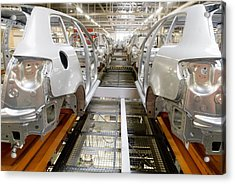 Car Factory Production Line Acrylic Print by Arno Massee