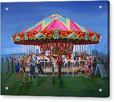 Acrylic Print featuring the painting Carousel At Dusk by Oz Freedgood