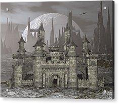 Castle By Night - 3d Render Acrylic Print by Elenarts - Elena Duvernay Digital Art