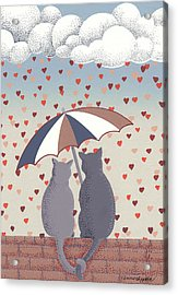 Acrylic Print featuring the mixed media Cats In Love by Anne Gifford