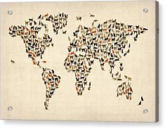 Cats Map Of The World Map Acrylic Print by Michael Tompsett