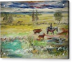 Cattle Drive Acrylic Print by Edward Wolverton
