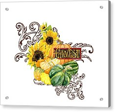 Celebrate Abundance - Harvest Fall Pumpkins Squash N Sunflowers Acrylic Print