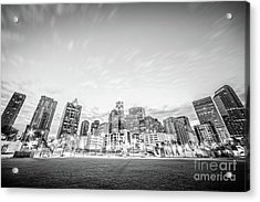 Charlotte Skyline Black And White Photo Acrylic Print by Paul Velgos