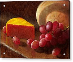 Cheese Wedge And Grapes Acrylic Print