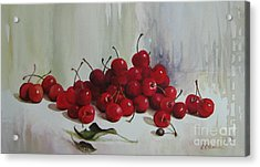 Acrylic Print featuring the painting Cherries by Elena Oleniuc